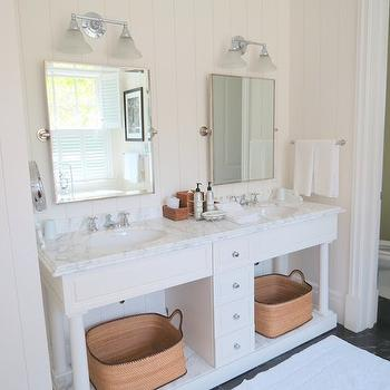 Gray Wall Panels Eclectic Bathroom