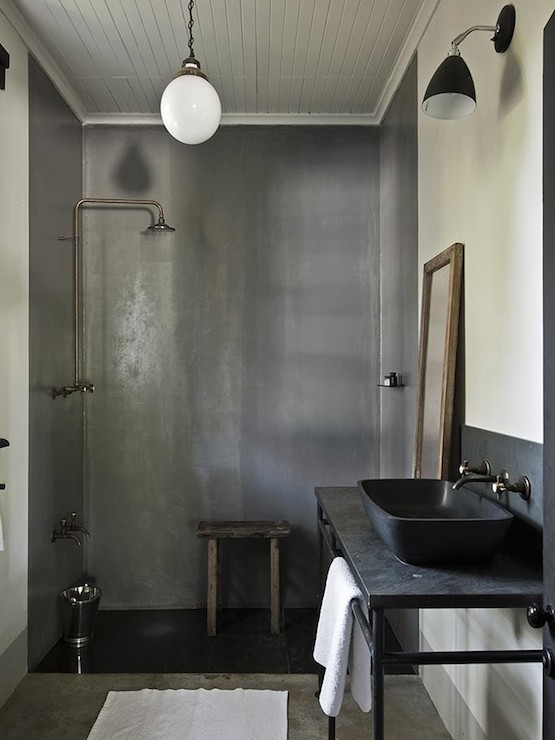 tadelakt shower modern bathroom the satyagraha house. Black Bedroom Furniture Sets. Home Design Ideas