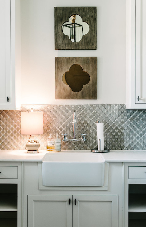 Gray Arabesque Tiles Contemporary Laundry Room