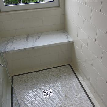tiled shower seat design. Marble Penny Tiles Floating Tiled Shower Bench Design Ideas
