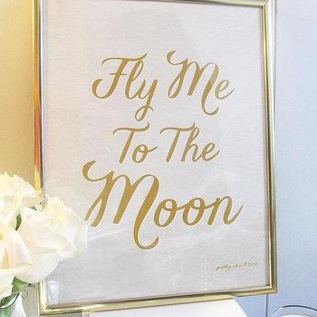 Fly Me To The Moon Art Print LOVE Gold Frank by prettychicsf I Etsy