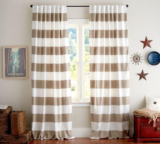 Pb Classic Taupe And White Stripe Drape