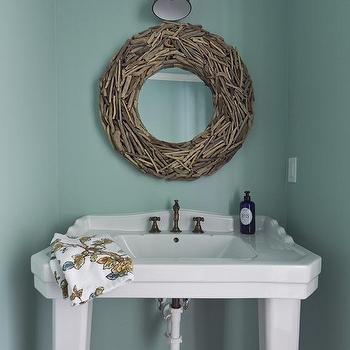 Round Driftwood Mirror, Cottage, bathroom, Pratt and Lambert Pacific, Milk and Honey Home