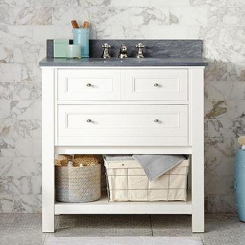 Pottery Barn Bathroom Cabinets lucca high backsplash single sink console - blue - pottery barn