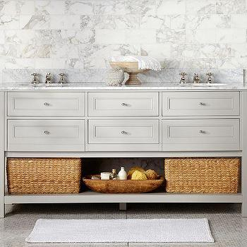 Classic Double Sink Console, Gray, Pottery Barn