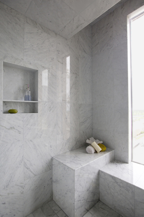 Marble Walk In Shower With Stainless Steel Shower Niche