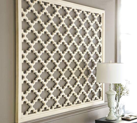 Lattice panel white wall art