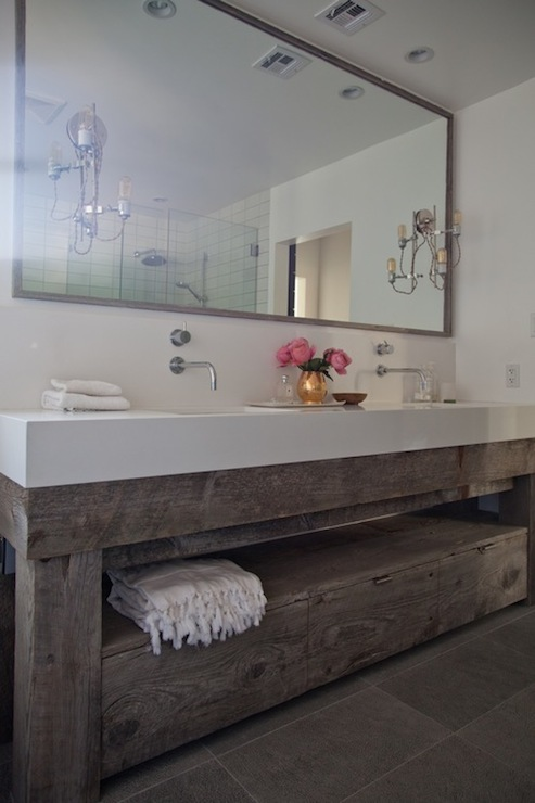 view full size. Beautiful bathroom features salvaged wood double vanity ... - Salvaged Wood Vanity Design Ideas