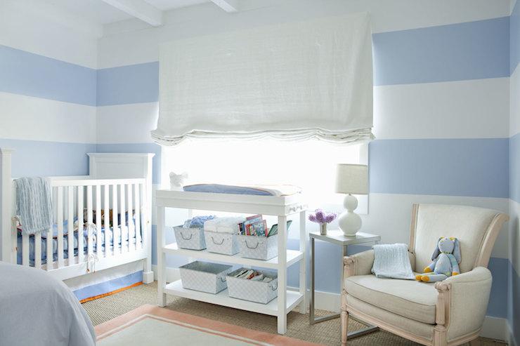 Nursery With Horizontal Stripe Walls Design Ideas