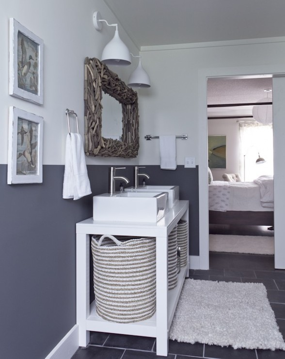 Cottage bathroom vanity cabinets - Half Painted Wall Cottage Bathroom Benjamin Moore