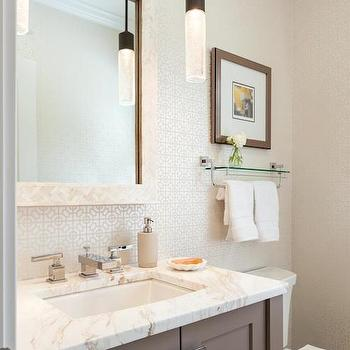Delightful Metallic Geometric Wallpaper View Full Size. White And Gray Bathroom  Features Metallic Geometric Wallpaper Framing Mother Of Pearl Mirror ...