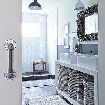 Gray and White Bathroom, Cottage, bathroom, Benjamin Moore Downpipe, Milk and Honey Home