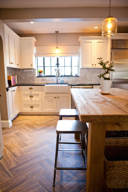 Herringbone Floor Transitional Kitchen Tess Fine