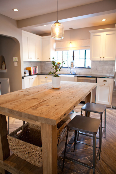 salvaged wood island transitional kitchen tess fine