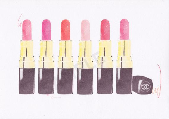 Multiple Chanel Lipsticks Black and Pink and Gold Wall Art