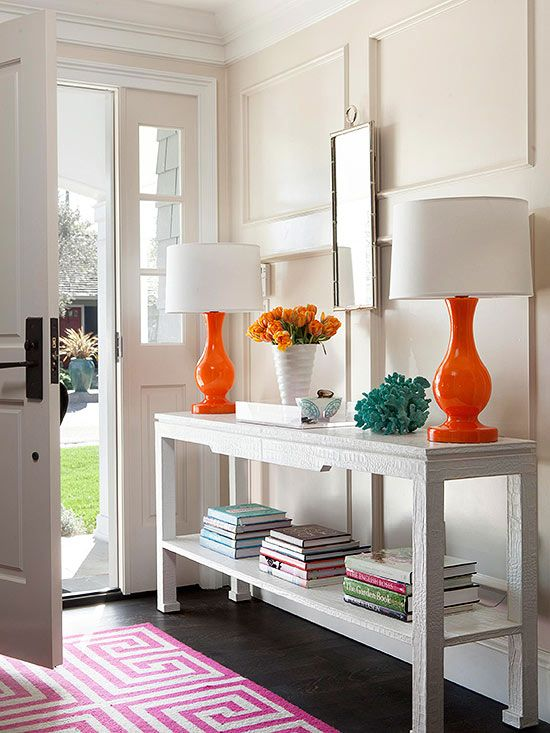 Orange lamps transitional entrance foyer bhg - Ideeen decor ...
