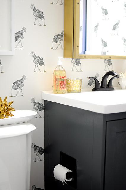 Grey vanity with brass rivet medicine cabinet for Bathroom wallpaper next