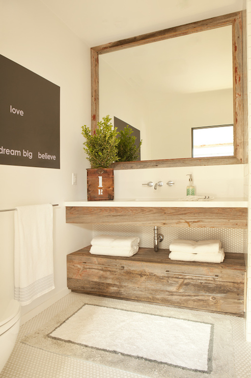 Reclaimed Wood Vanity Cottage Bathroom Eric Olsen Design