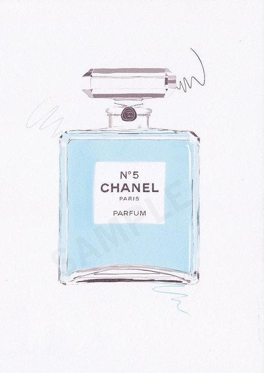 Baby Blue Chanel No 5 Paris Parfum Wall Art