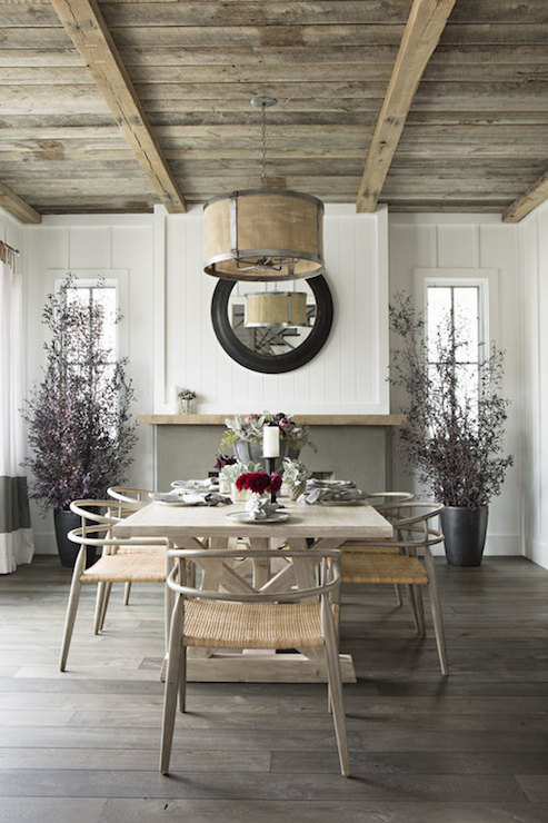 Unique Rustic plank Ceiling - Cottage - dining room - Eric Olsen Design EV63