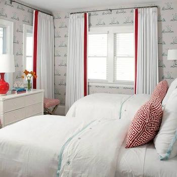 Border Frame Duvet Cover and Shams, Cottage, girl's room, Liz Carroll Interiors