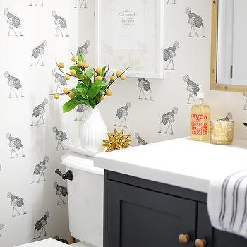 Ostrich Wallpaper, Eclectic, bathroom, Farrow and Ball Downpipe, Go Haus Go