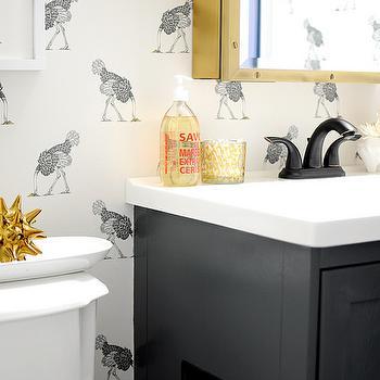 Antique Brass Medicine Cabinet, Eclectic, bathroom, Farrow and Ball Downpipe, Go Haus Go