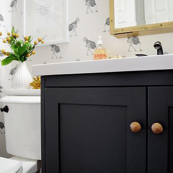 Dark Gray Vanity, Eclectic, bathroom, Farrow and Ball Downpipe, Go Haus Go