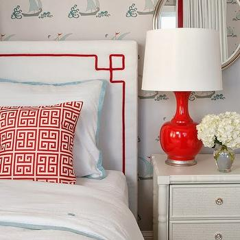 Greek Key Headboard, Cottage, girl's room, Liz Carroll Interiors