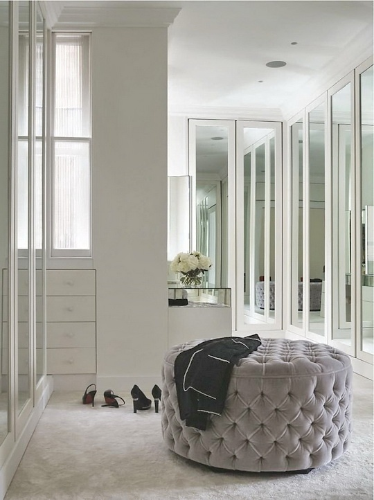 Mirrored Bi Fold Doors Contemporary Closet