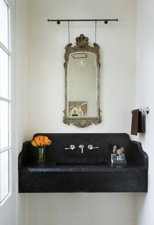High Quality Black Marble Floating Sink