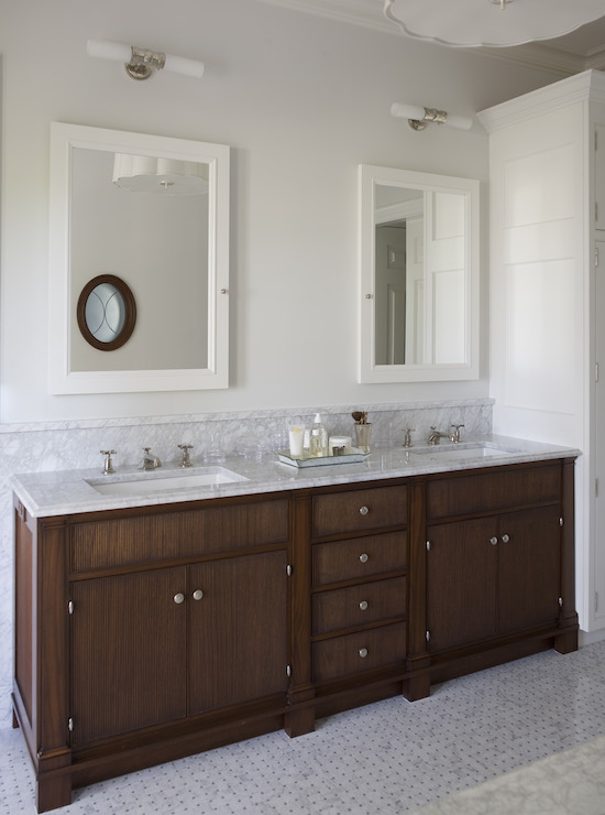 Bathroom Vanity Lights Over Medicine Cabinet white framed medicine cabinet - traditional - bathroom - phoebe howard