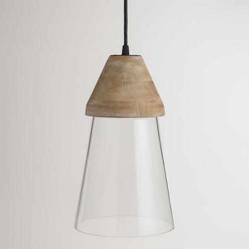 Top clear glass hanging pendant lamp wood top clear glass hanging pendant lamp mozeypictures Choice Image
