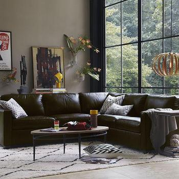 Henry 3-Piece L-Shaped Sectional, Leather, West Elm