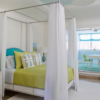 Turquoise Blue Headboard, Cottage, girl's room, Phoebe Howard
