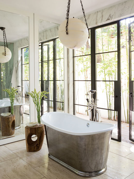Black French Doors Open To Black Claw Foot Tub