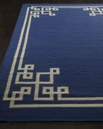 Ivory Greek Key Border Blue Hand Woven Rug