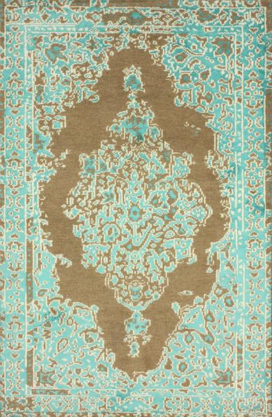 Wool And Viscose Turquoise And Beige Area Rug
