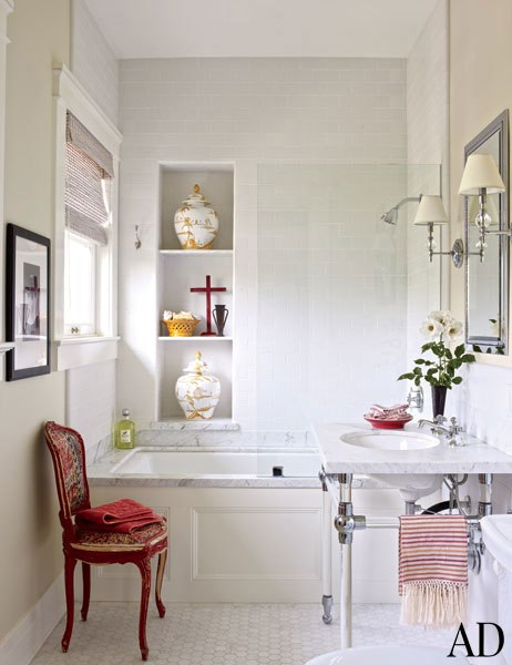 Bathtub Niche Transitional Bathroom Architectural Digest