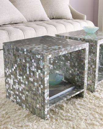 Bernhardt Abalone Silver Side Table