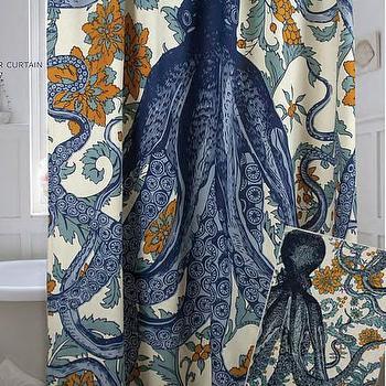 Octopus Vineyard Shower Curtain in Goldenrod design by Thomas Paul I Burke Decor