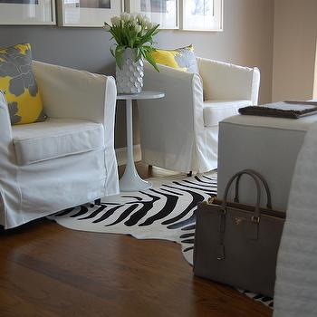 Yellow and Gray Bedroom & Ikea White Tullsta Chairs Design Ideas