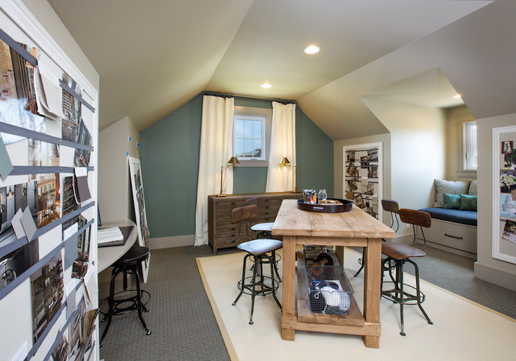 Homework Room Transitional Den Library Office Restoration Hardware Blue Sage Rh Homes