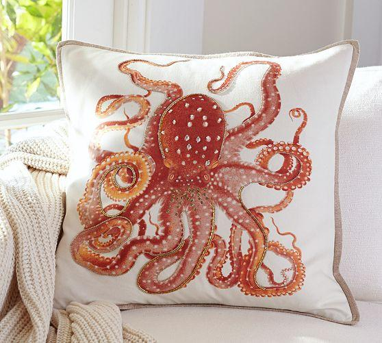 La Paz Jeweled Orange Octopus Pillow Covers