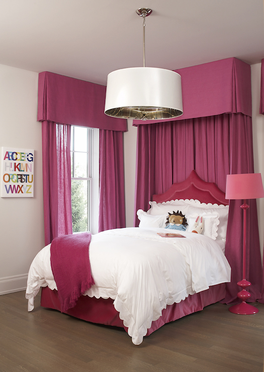 Hot Pink Curtains Transitional Girl 39 S Room Leo Designs Chicago