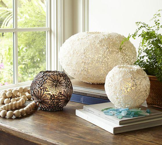 Kai Shell Ambient Silver Or White Round Table Lamps