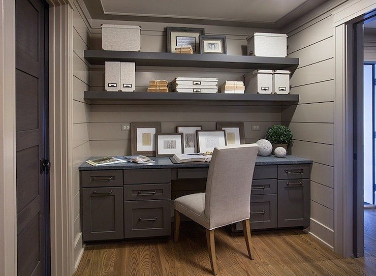 Gray Built In Desk Transitional Den Library Office Benjamin Moore Rocky Beach Rh Homes