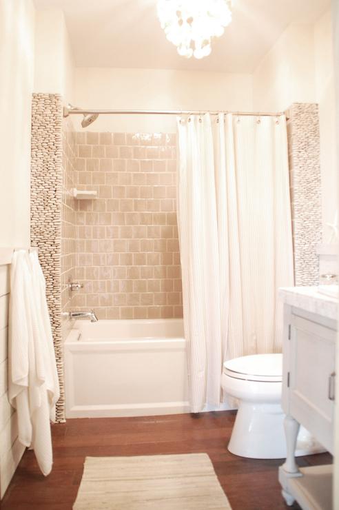 Ticking Stripe Shower Curtain Cottage Bathroom