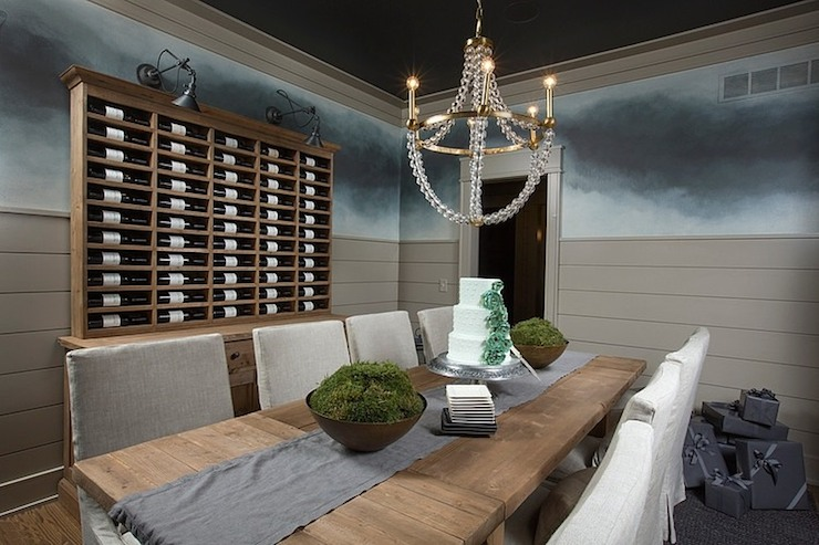 Built In Wine Rack View Full Size Formal Dining Room Features Brass And Glass Chandelier Over Restoration Hardware