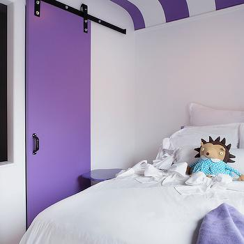 Purple Striped Ceiling, Contemporary, girl's room, Leo Designs Chicago